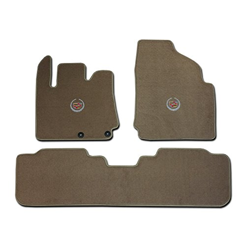 cadillac-srx-3-pc-2-fronts-rear-runner-tan-beige-custom-fit-carpet-floor-mat-set-with-cadillac-crest