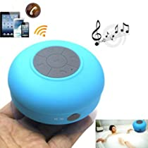 ZPS Wireless Mini Waterproof Bluetooth Suction Shower Car Handsfree Mic Speaker (Blue)