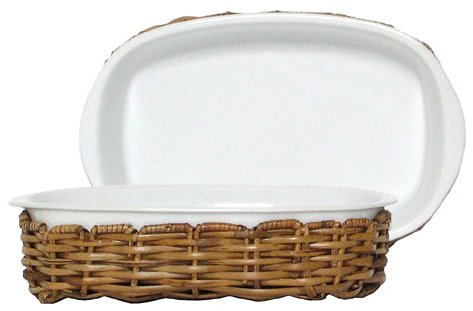 "Small Woven Rattan Oval Basket With White Ceramic Casserole 9 1/2""L x 6""W x 3""H"