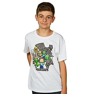 Minecraft Party Youth Short Sleeve White Tee Shirt