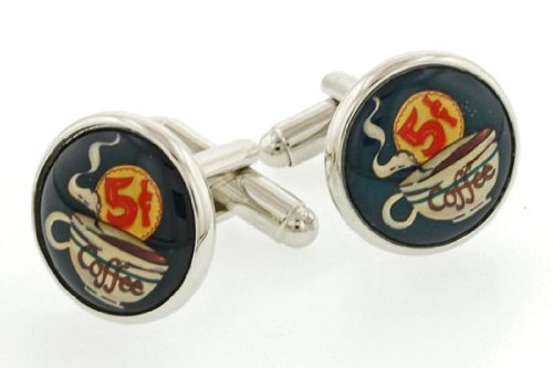 JJ Weston 5 Cent Coffee Cufflinks with Presentation Box. Made in the USA