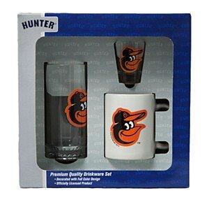 Baltimore Orioles Glassware Set: 3D Logo Tankard, Coffee Mug, Shot Glass