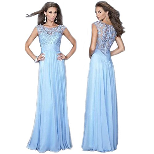 Liujos Sexy Evening Party Prom Gown Formal Bridesmaid Cocktail Chiffon Lace Dress,Small,Sky Blue