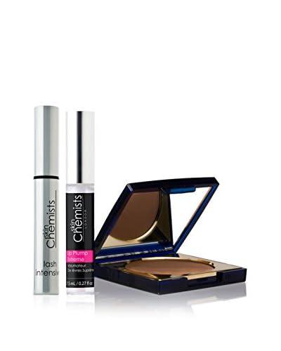 Skin Chemists Kit Mascara Ciglia Folte + Rimpolpatore Labbra Extreme + Cipria - Dark Tone