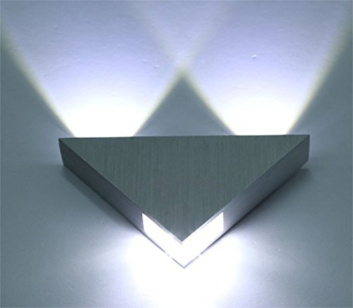 Lightess Modern Wall Sconce Lighting Triangle Designed 3W LED Cold White