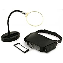 Headband & Flexible Table Top Magnifiers Art Craft Magnifying Jewelers Tool
