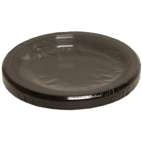 Jam Paper® - Medium Round Black Plastic Party Plates - 9 Inches - 20 Plates Per Pack