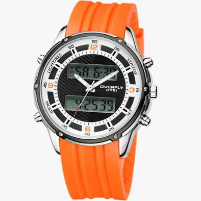 Fashion Sports Watch with Dual Time In Digital and Analogue with Date, Stop Watch and Alarm and Orange Rubber Silicone Strap