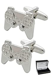 COLLAR AND CUFFS LONDON - Fun HIGH QUALITY Game Console Controller Cufflinks - Solid Brass - Silver Colour - Presentation Gift Box Included