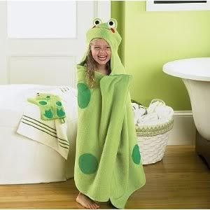 Jumping Beans® Green Frog Hooded Bath Towel With Embroidered Face Make Bathing Time Tons Of Fun Baby / Child / Infant / Kid