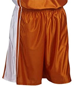 Teamwork Adult Youth Dazzle Basketball Shorts 995-TEXAS ORANGE WHITE A2XL-11 INSEAM by Teamwork
