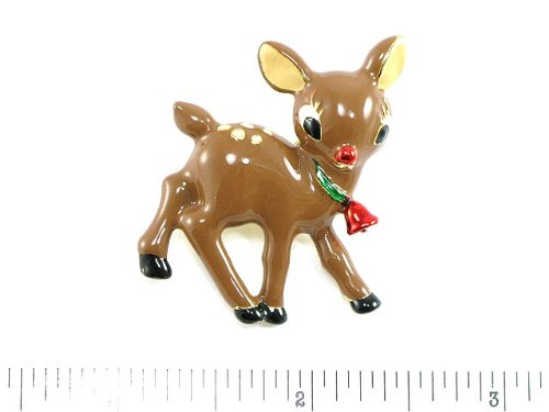 Women's Brown Enamel Rudolph Reindeer Brooch,