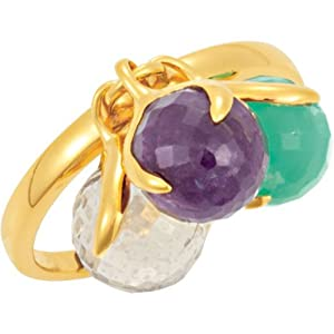 Missoma Stackable Ring in Rose Chalcedony Amethyst and Blue Chalcedony: Size 6