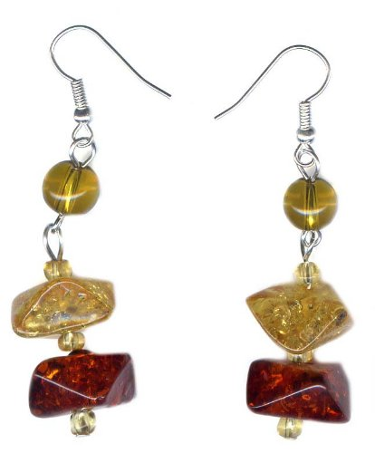 Facet cut Amber Earrings on 925 sterling silver hooks