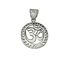 OM Ohm AUM Yoga Sterling Silver Sun Pendant - Medium