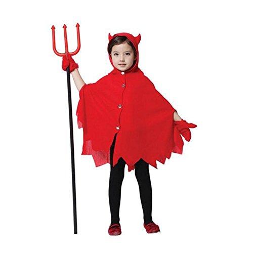 [Jutao Kids Halloween Cloak Horn Red Devil Party Cape Cosplay Costume with Gloves] (Devil Costums)