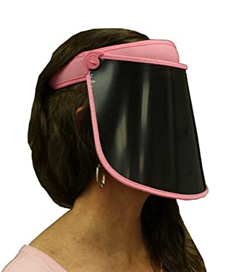 Ladies Solar Face Shield - 7 in Pink. Full Face Sun Protection