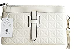 Avber Womens Cow Leather Vintage Style Clutch Bag Sling Bag Crossbody Bag White
