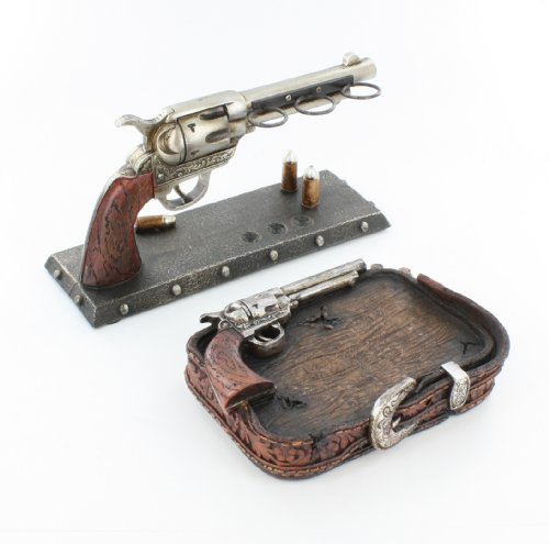 Cowboy Pistol Revolver Toilet Paper Holder Rustic Western Gun Bathroom Decor