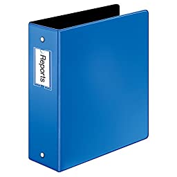 Cardinal Premier Easy Open Locking Round Ring Binder, 3-Inch, Blue with Label Holder (18847CB)