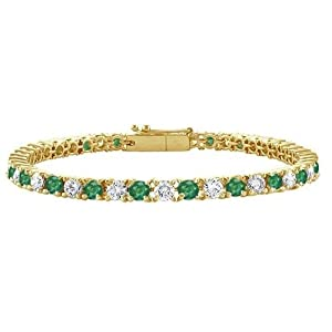 Bling Jewelry Green Cubic Zirconia Gold Plated Tennis Bracelet