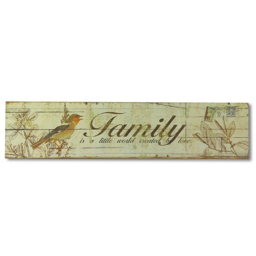 "Adeco [Sp0136] Decorative Wood Sign Quoting : ""Family Is A Little World Created By Love"" - Vintage Style Plaque For Wall Hanging front-12426"