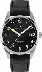 Alpha Saphir Herren-Armbanduhr XL Analog Quarz Leder 379A