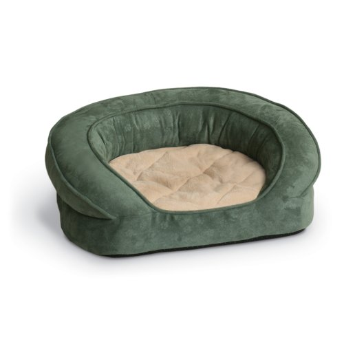 K&H Deluxe 50-Inch Round Ortho Bolster Sleeper, Extra Large, Green Paw Print front-975512