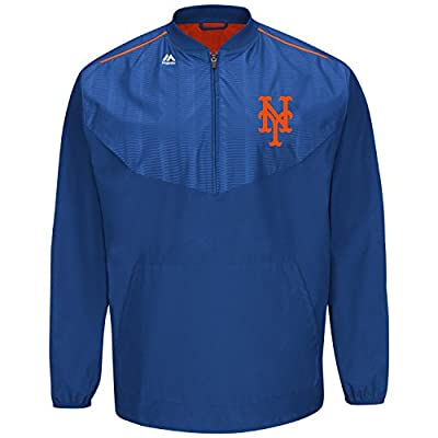 Men's Majestic Mets Half Zip Cool Base On Field Training Jacket