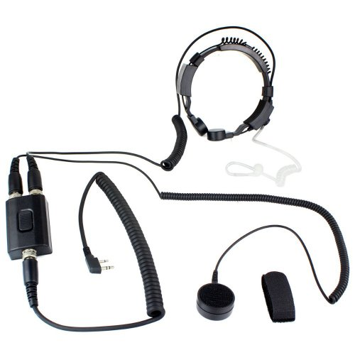Professional Tactique Military Police Fbi Flexible Throat Mic Microphone Covert Acoustic Tube Earpiece Headset For 2-Pin Icom Maxon Yaesu Vertex Radio