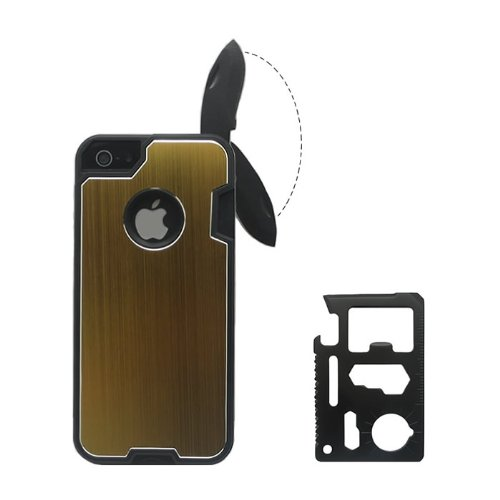 Kabb Fashion Design Metal Gold Skin Cover With Knife Case For Iphone 5/5S + 1 Camping Multifunctional Knife + 1 Small Gift