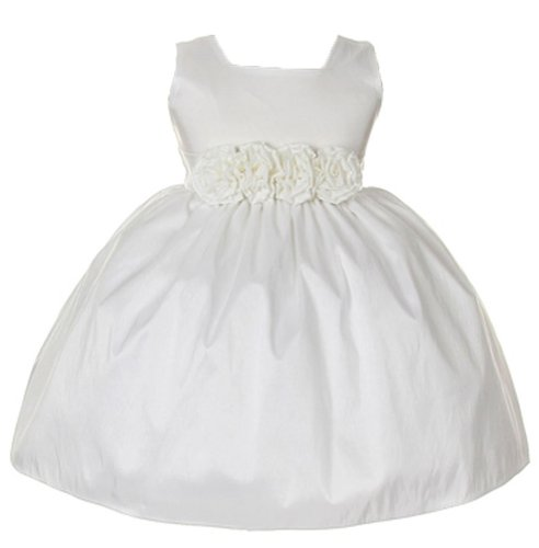 Sweet Kids Baby-Girls Sleeveless Flower Girl Dress With Rolled Flower Waistband