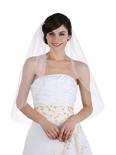 1T 1 Tier Cut Edge Bridal Wedding Veil - White Elbow Length 30