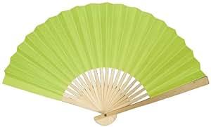 """9"""" Chartreuse Paper Hand Fan w/ Beige Organza Bag (10 PACK)"""