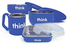 Thinkbaby BPA Free Feeding Set, Blue, 6 Months (Discontinued by Manufacturer)