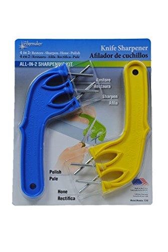 The Edgemaker Knife Sharpener (Complete All-In-2! Sharpening Kit 350, Blue/Yellow)