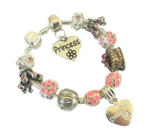 Treasured Charms & Beads Sparkling Princess Childrens/Girls Charm Bracelet For Birthdays