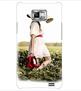 PrintDhaba Hat Girl D-3360 Back Case Cover for SAMSUNG GALAXY S2 (Multi-Coloured)