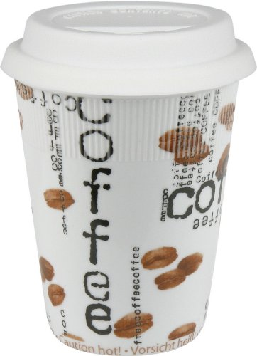 Konitz 9-Ounce Coffee Collage Traveler's Mugs with Silicone Lid, Set of 4
