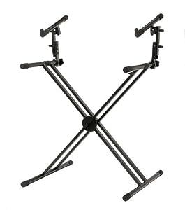 Classic Cantabile 2-Fach Doppel-X-Keyboardständer (2 Ebenen, Ideal für Keyboard und Stagepianos)