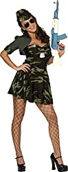 Smiffy's Women's Military Babe Costume Camouflage Dress Hat and Shrug, Multi, Medium