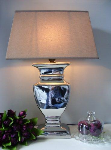groe-Tischleuchte-Tisch-Lampe-Leuchte-52-cm-silber-hellbraun-Schirm-rechteckig-Shabby-Landhaus