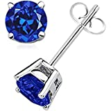 Authentic Tiff Blue Color Crystal Ball Stud Earrings Sterling Silver 3 Carats Total Weight Special Limited Time Offer Super Sale