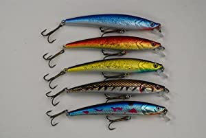 Akuna Pack of 5 Magic Minnow Series 4.3 inch Topwater Fishing Lure