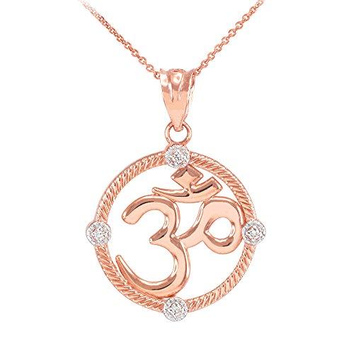 """Donne Collana Pendente 10 Ct Rosa Oro Cordata Circolo Diamante Hindu Meditazione Fascino Yoga """"Om"""" (Aum) (Viene Fornito Con Una Catena Da 45cm)"""