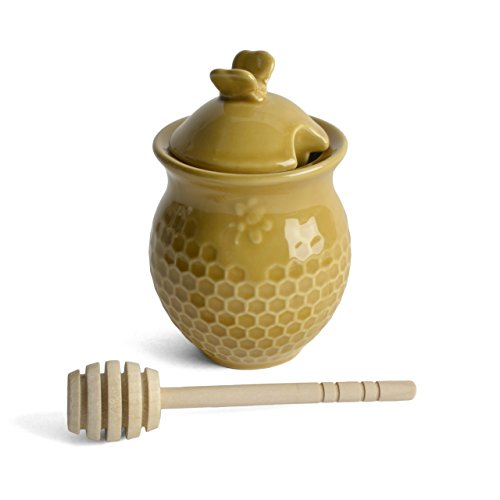 Best Price Creative Co-op Gold Stoneware Honey Jar with Wood Dipper, Yellow