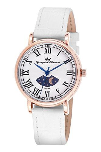 Yonger & Bresson-DCR 1696-02-Ladies Watch-Analogue Quartz-Silver Dial-White Leather Bracelet