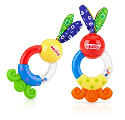 Nuby Teethe and Shake Rattle Teether, 3 Months Plus, 2 Count - 1