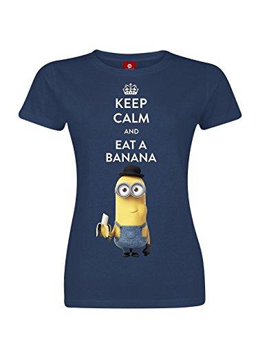 Minions Keep Calm And Eat A Banana Maglia donna blu navy M