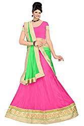 Pushty Fashion Pink and Green net Embroidered Lehenga
